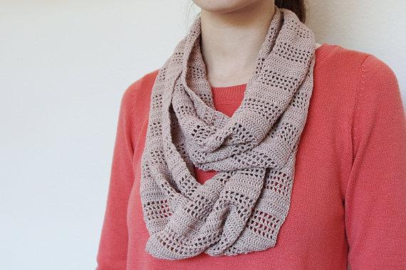 Crochet Pattern Stripe Infinity Scarf Instant Download By