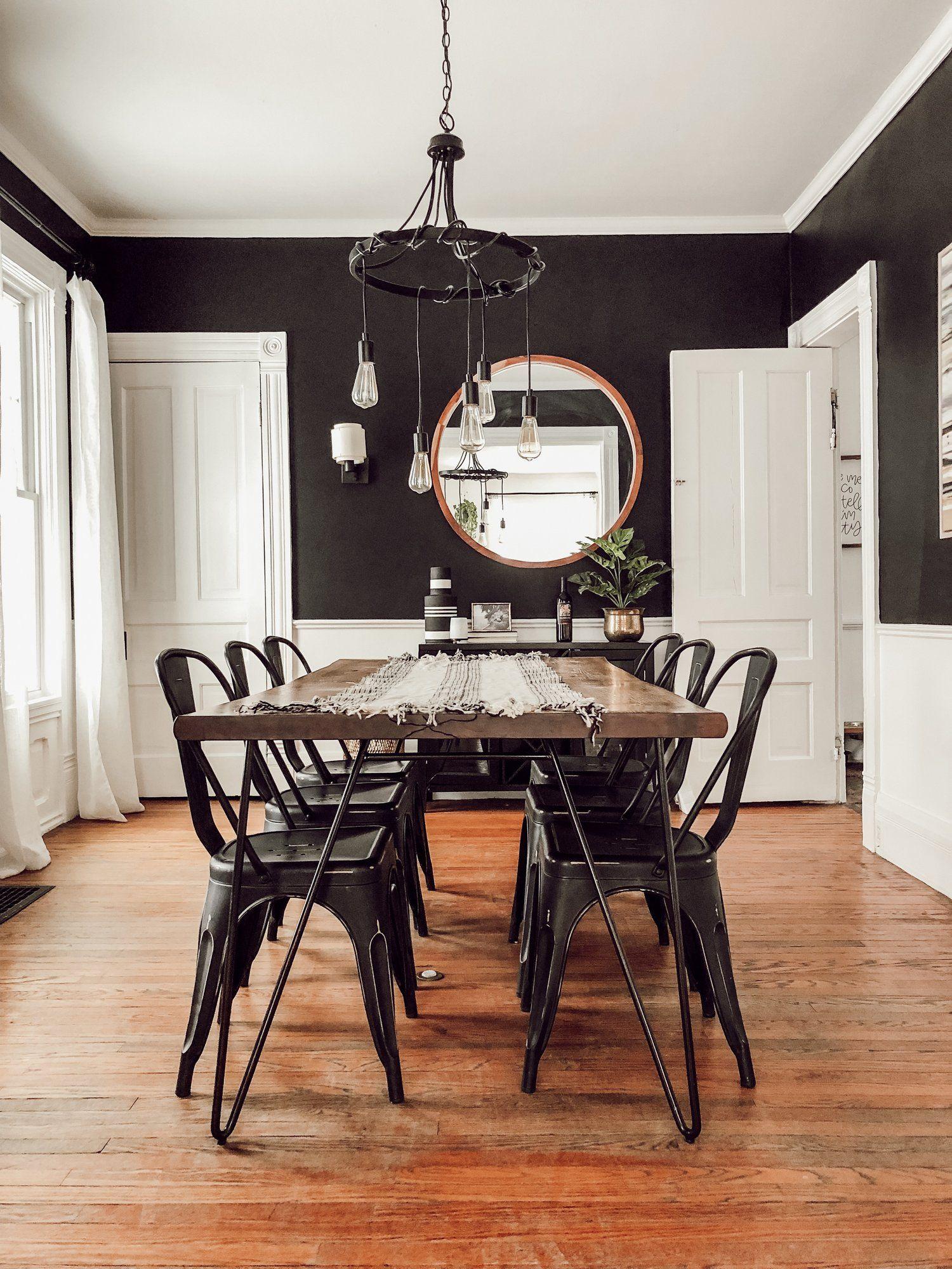 Modern Vintage Victorian House Tour Black White Dining Room