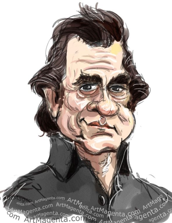 Download Johnny Cash caricature cartoon. Portrait drawing by ...