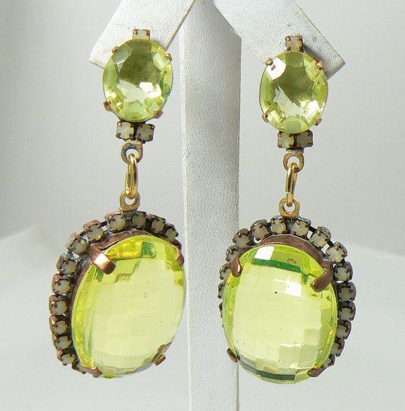 Czech Vaseline Uranium Glass Earrings Glass Earrings Earrings Antique Costume Jewelry