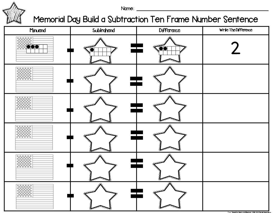 Memorial Day 2 Addend Addition Amp Subtraction With Ten