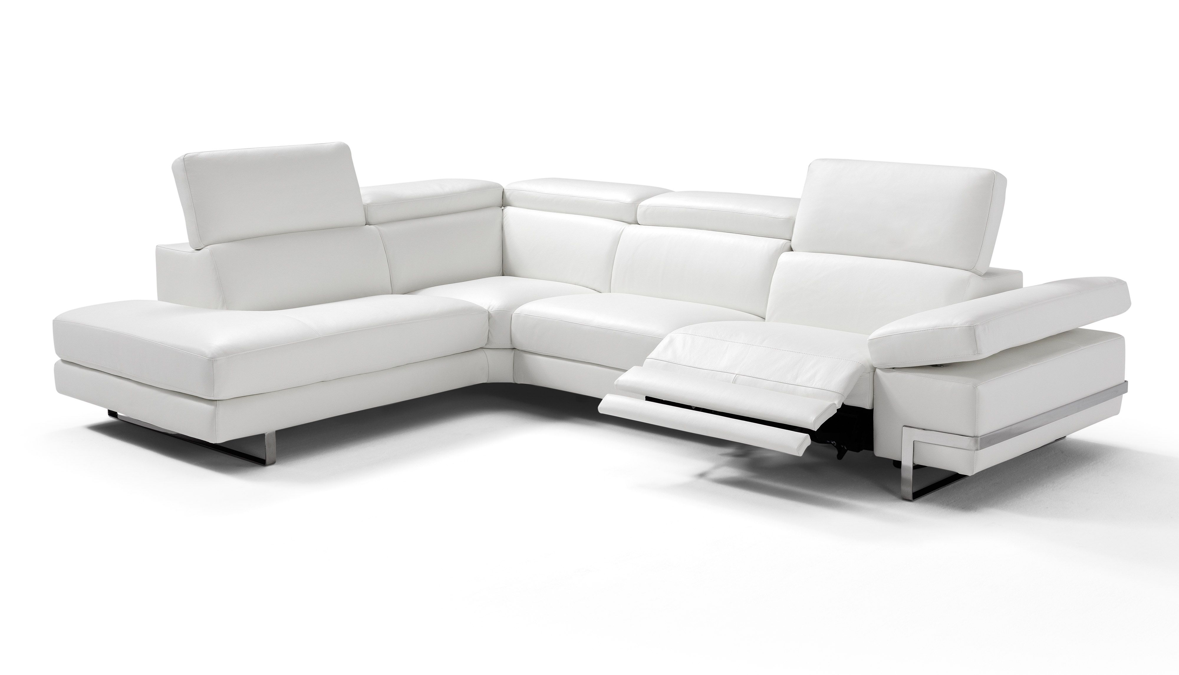 White Leather Sectional Sofa With Built In Recliner The Modern