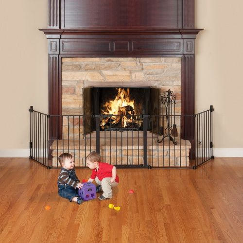 Kidco Auto Close Hearth Gate Black Www Hayneedle Com Fireplace Gate Freestanding Fireplace Fireplace Safety