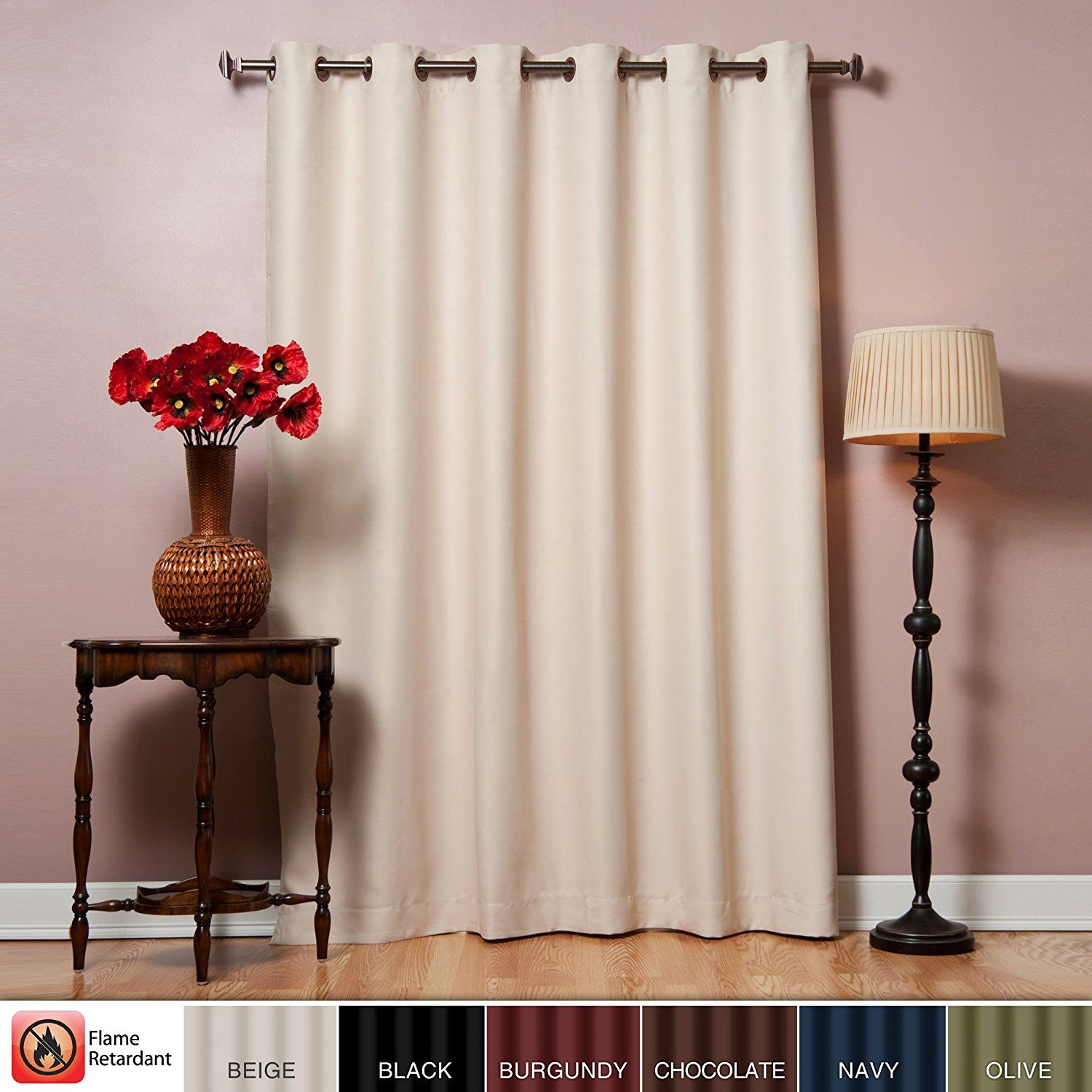 Best Home Fashion Wide Width Flame Retardant Thermal Insulated Blackout Curtain - Antique Bronze Grommet Top - Beige - 80'W x 96'L - (1 Panel) >>> To view further for this item, visit the image link. (This is an affiliate link) #WindowTreatments