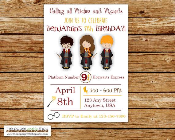 Harry Potter Invitation Harry Potter Birthday Invitation
