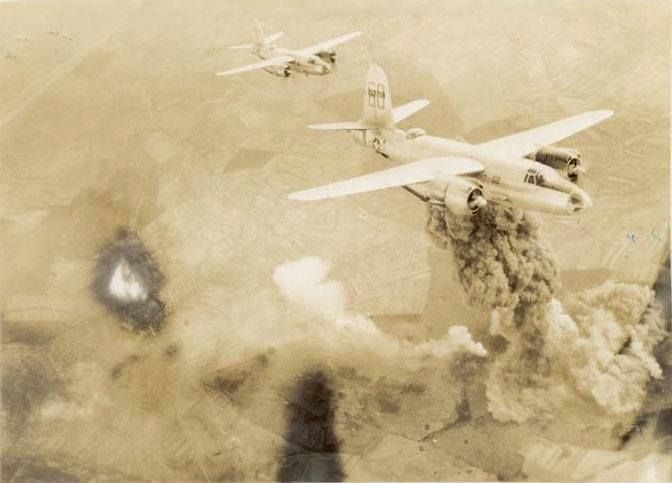 AA FIRE NAZI LUFTWAFFE RAID OVER ALGIERS WORLD WAR 2 WWII PHOTO CANVASART PRINT