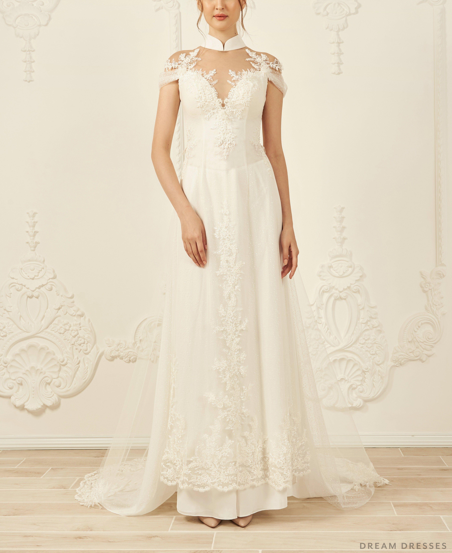 White Ao Dai Modern Vietnamese Wedding Dress (ILIANA