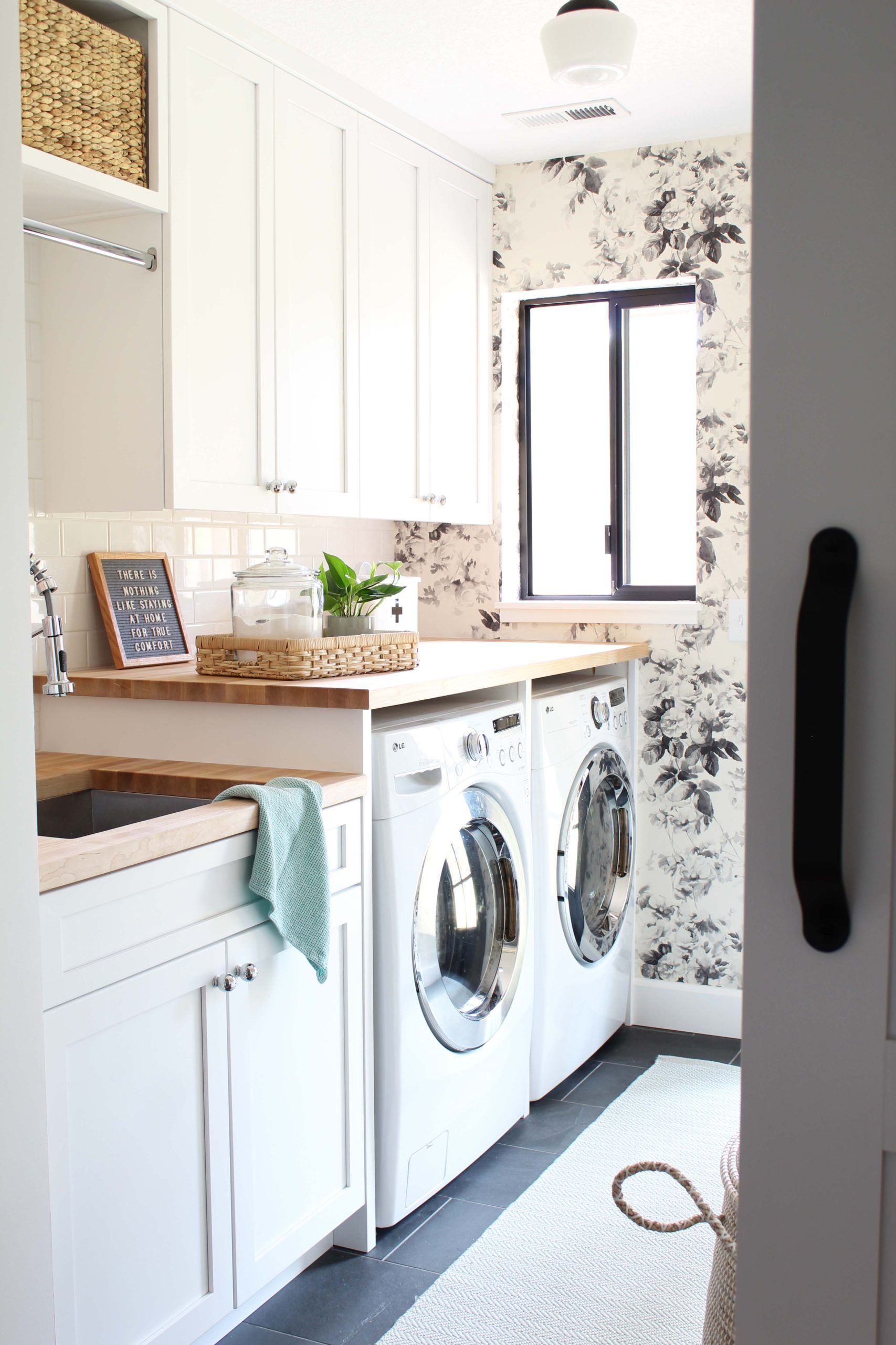 modern floral laundry room makeover laundry room white on laundry room wall covering ideas id=19848