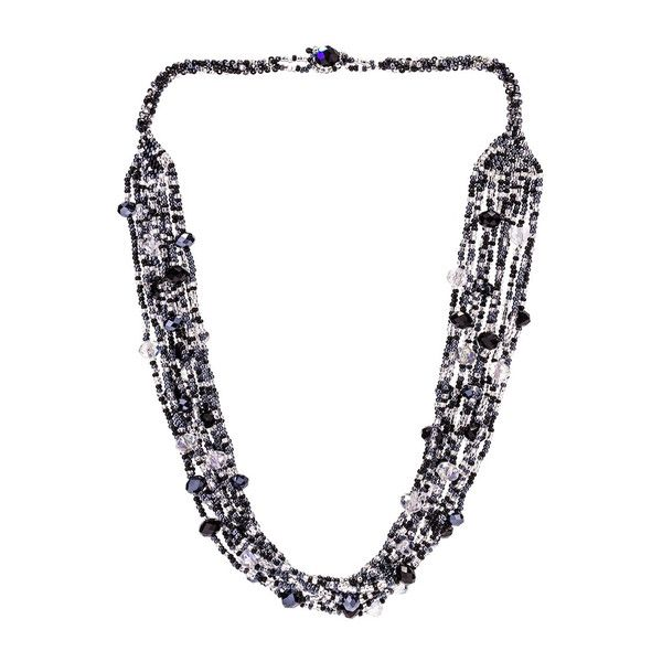 JJ Caprices - Hand Beaded Necklace - Shimmering Black and Crystal