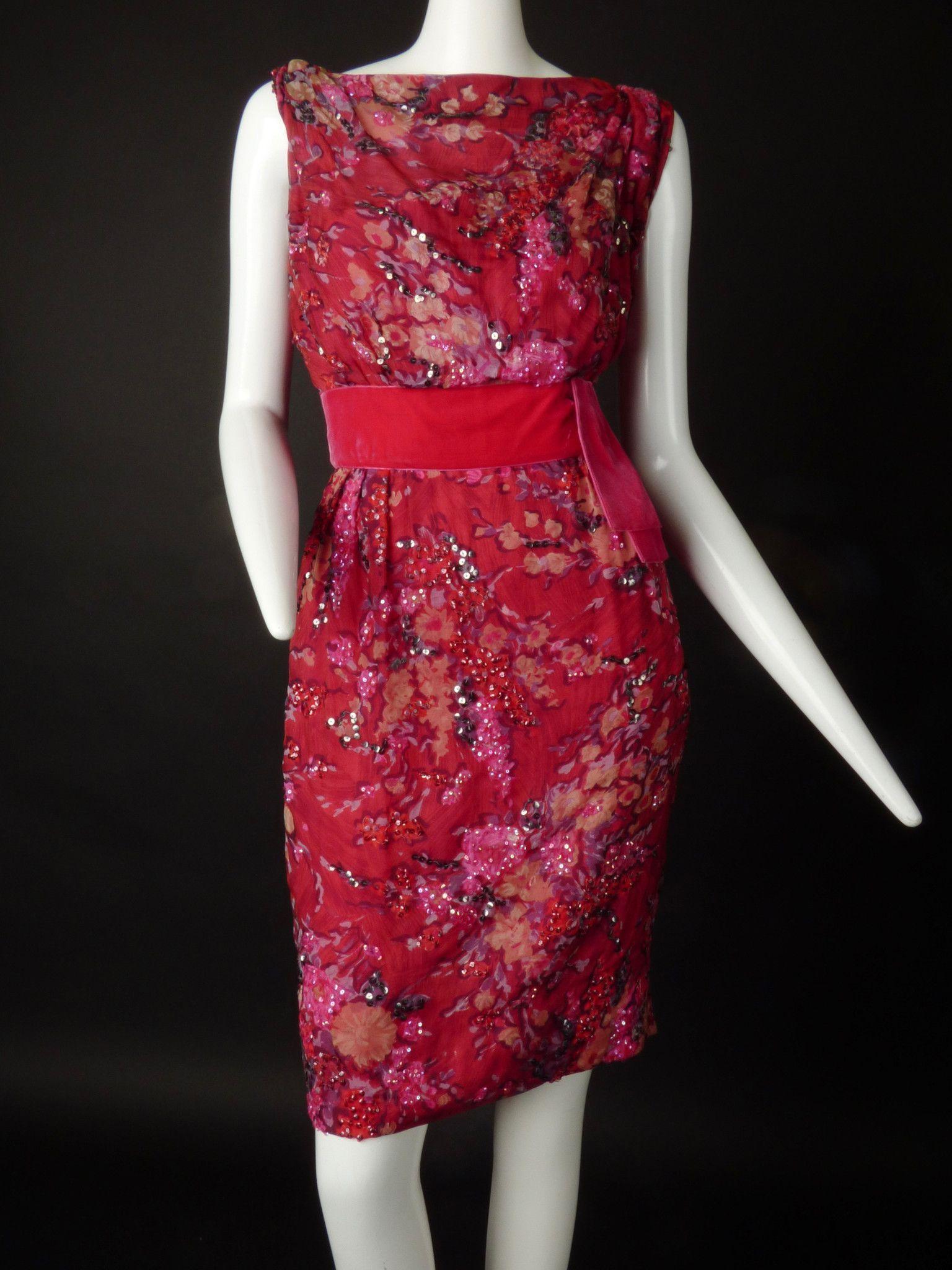 1950s Sequin Georgette Cocktail Dress, Size-10