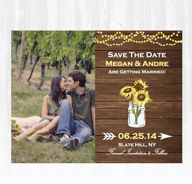 Wood Sunflower Save The Date Magnet Or By Treasuredmomentscard