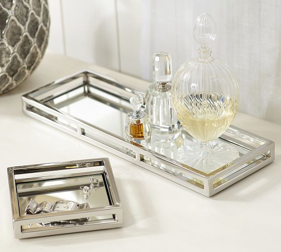 Great For Vanity Or Night Table Mirrored Trays Pottery