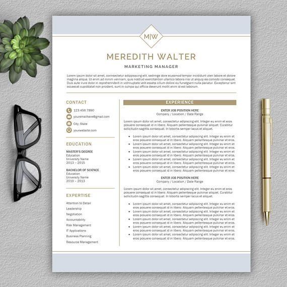 Professional Resume Template \/ CV Template for Word Cover Klamp - professional resume templates for microsoft word