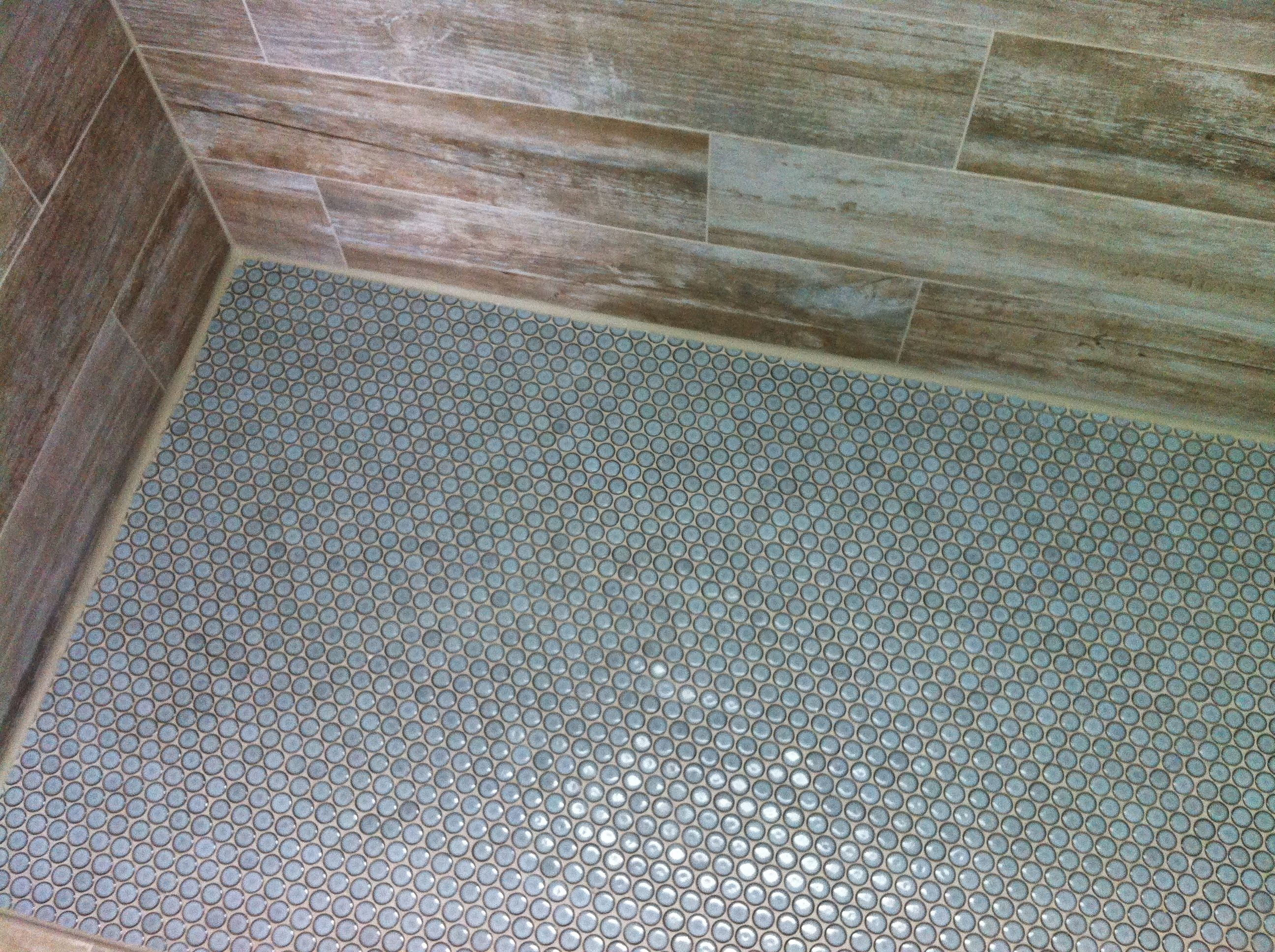 6x24 Porcelain Plank Tile Shower Walls With Penny Rounds On Floor Daniel Island