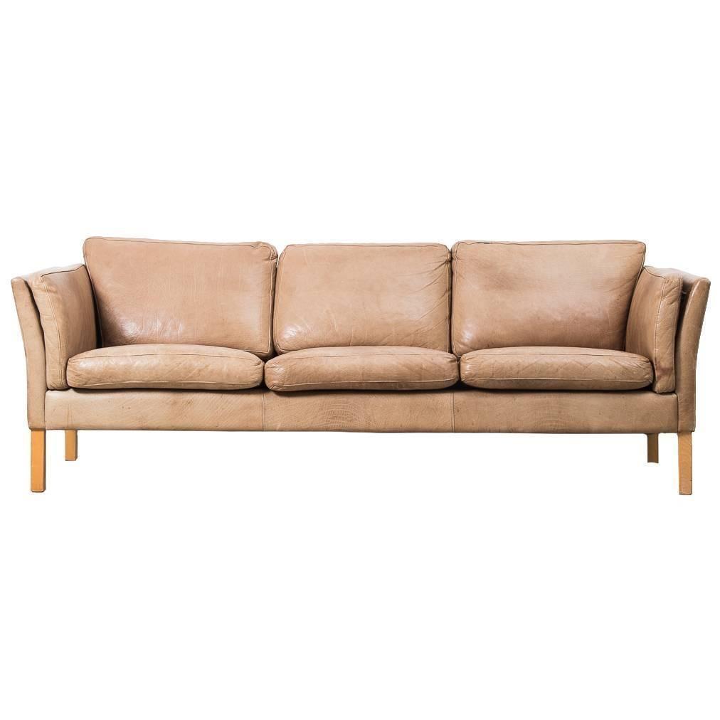 1960s Erik Jorgensen Danish Tan Leather Sofa From A Unique