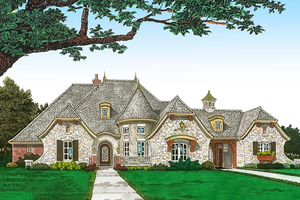 Plan 48576fm French Country House Plan With Attractive Turreted Dining Room French Country House French Country Houses Exterior French Country House Plans