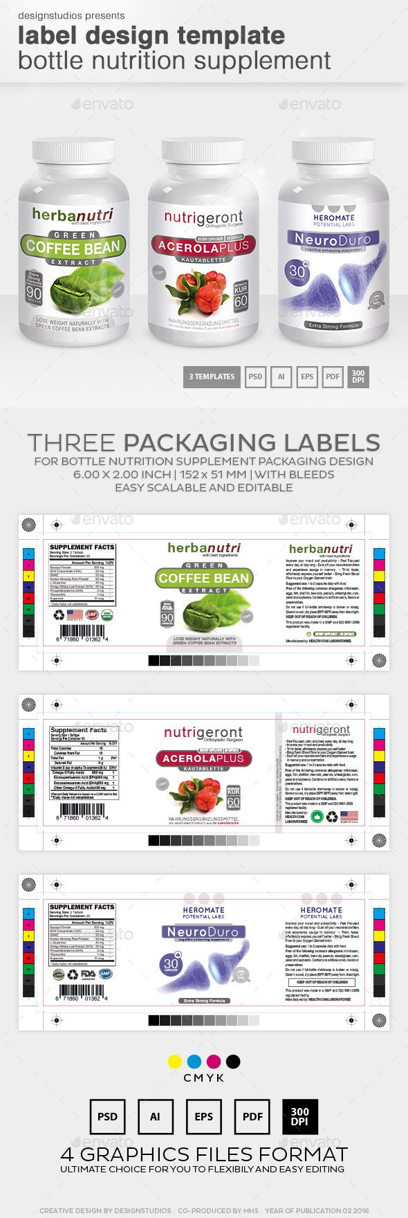 Label Design Template Bottle Nutrition Supplement  Print