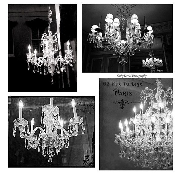 Paris Chandelier Prints Decor Black White Art French And Sparkling Print Set Of Four By Kathyfornal