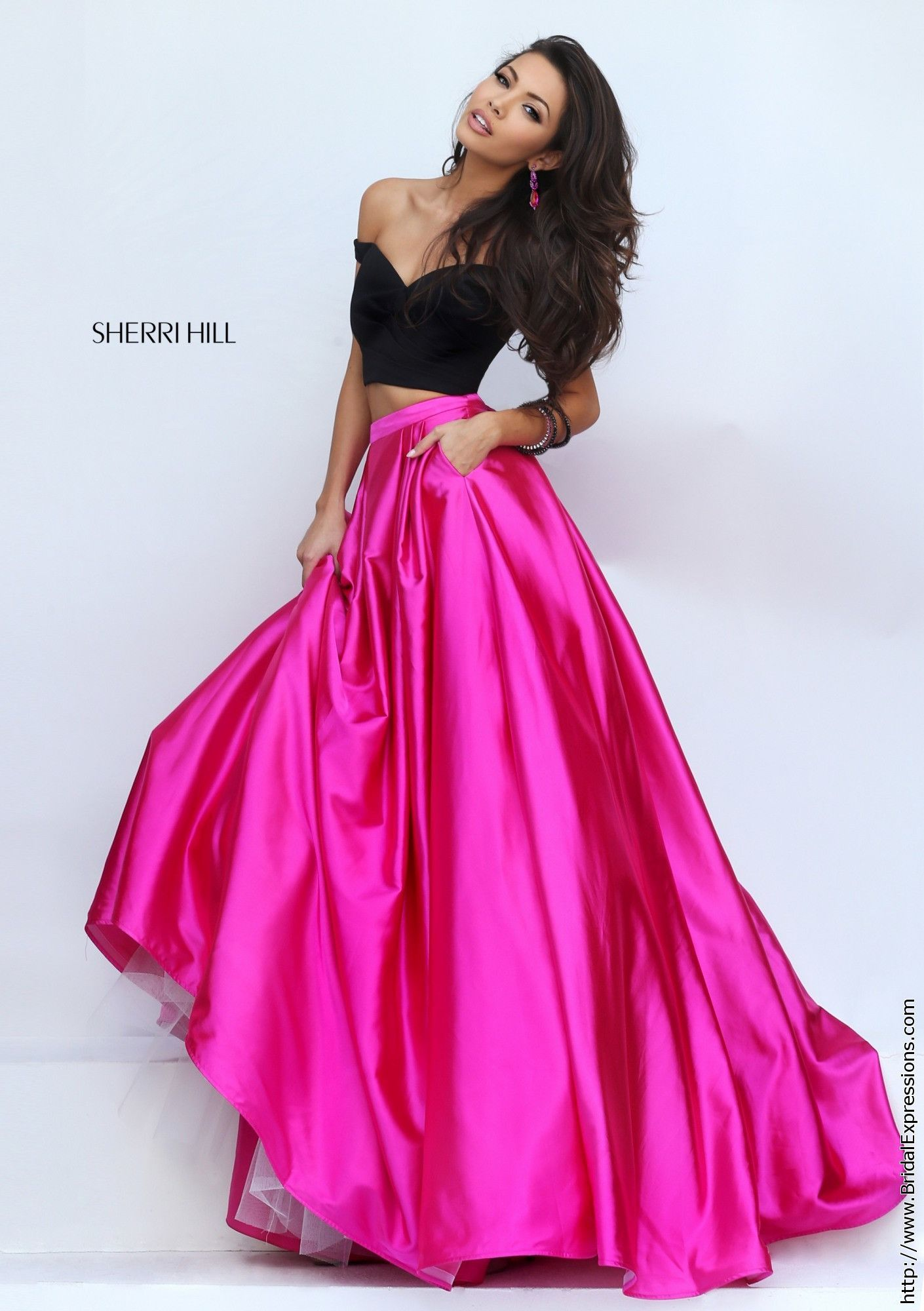 Sherri Hill 50194 Off the Shoulder Crop Top Prom Dress | vestidos de ...