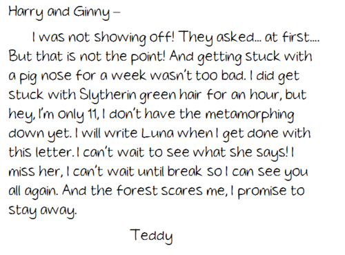 letter to harry and ginny from tonks and lupin's son teddy