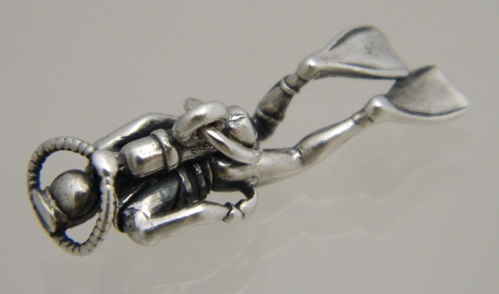 Sterling Silver 3D Underwater Scuba Diver Charm