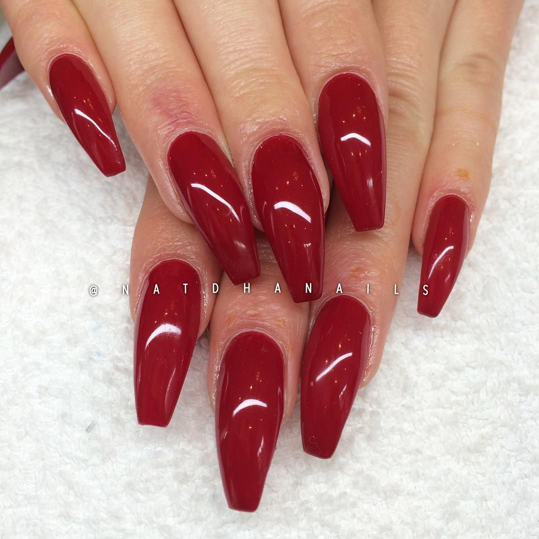 Red coffin nails   Nails   Pinterest   Coffin nails, Double team and ...