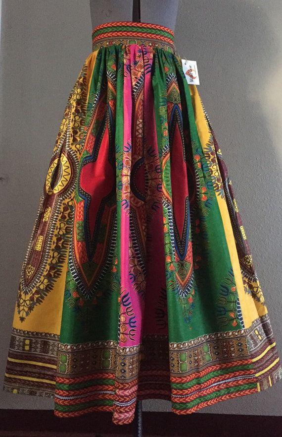 Multi Color Dashiki Patchwork Maxi Skirt 100 Cotton Super Full Panel Made