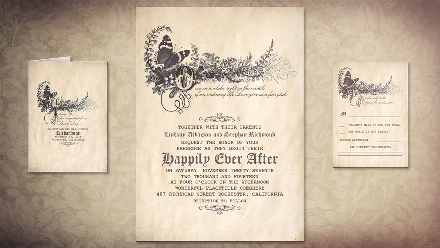 romantic and whimsical love storybook  fairytale wedding, invitation samples