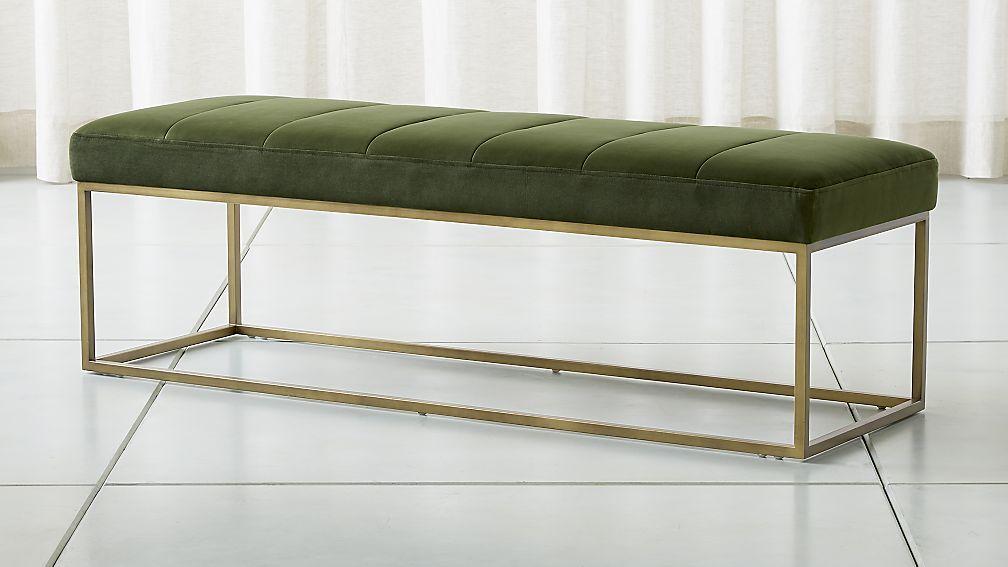 Channeldarkgreenvelvetbenchshf18 1x1 Crate And Barrel Velvet Bench Dark Bedroom Furniture Furniture