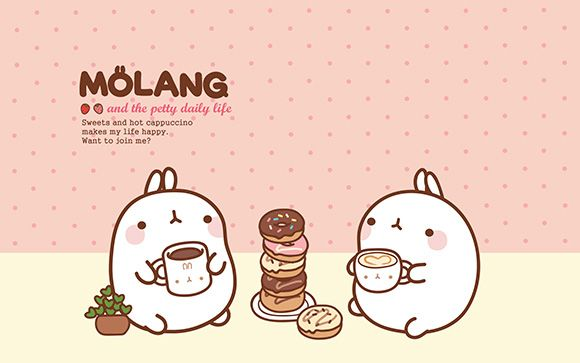 Molang Cute Korean Bunny Desktop Wallpaper With Images Bunny