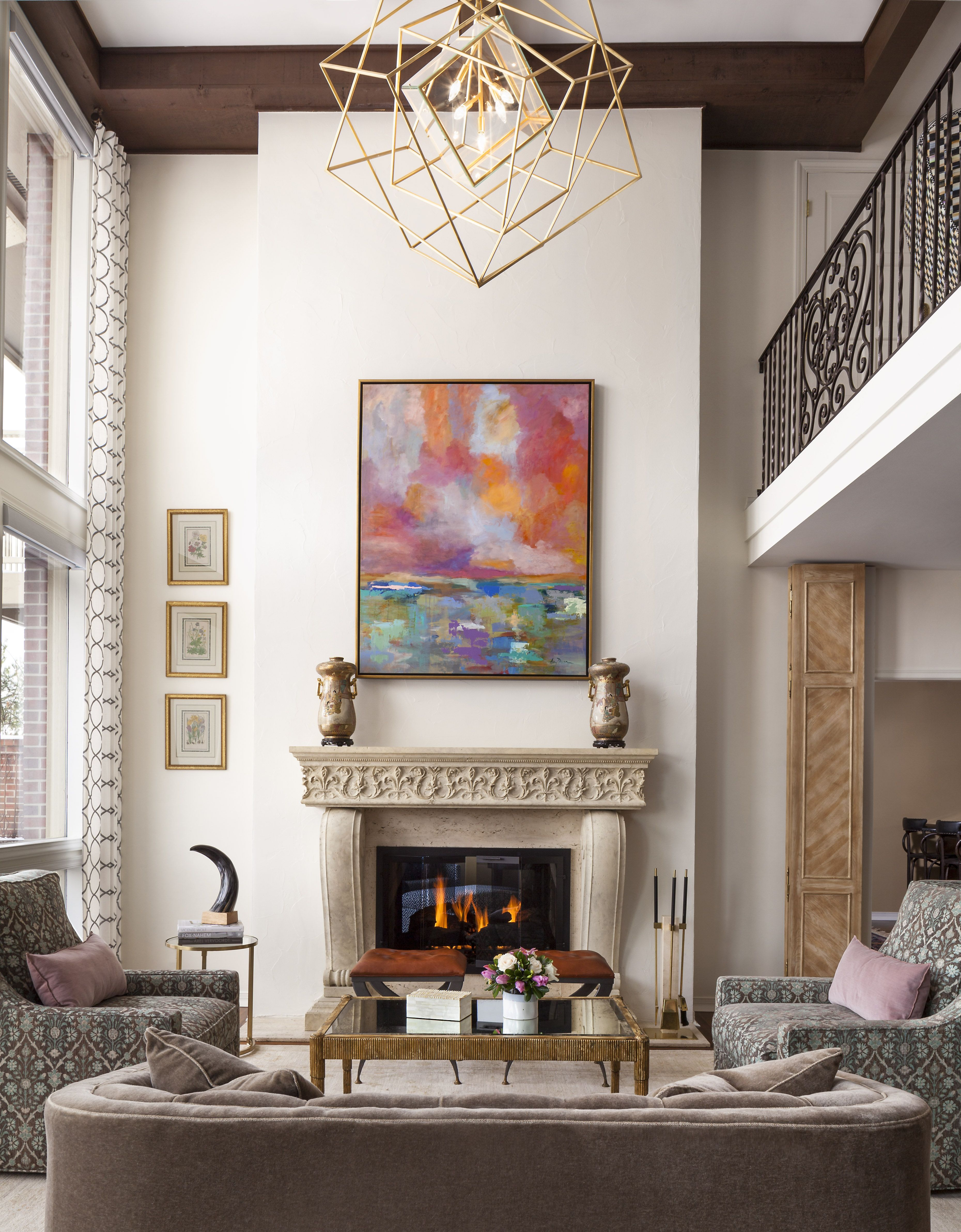 French Moire Living Room An Eclectic And Transitional Living Room With Pops Of Color Through Art And A Transitional Living Rooms Luxury Interior Design Home