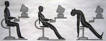 Postura en la oficina Técnicas útiles para sentarse  Asegurarse que el asiento no ejerce ninguna presión en la parte de atrás de las rodillas. Normalmente se recomienda que la espalda y los hombros deben estar rectos, aunque también hay expertos que sugieren un ángulo de 135 grados. Asegurarse que las rodillas forman un ángulo de 90 grados. Asegurarse que la espalda esté totalmente apoyada contra el respaldo Tomar descansos regulares y estar de pie durante un tiempo cuando sea posible.