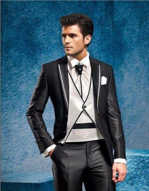 Click to Buy << Latest Coat Pant Design Black Trim Men Suit Slim Fit ...