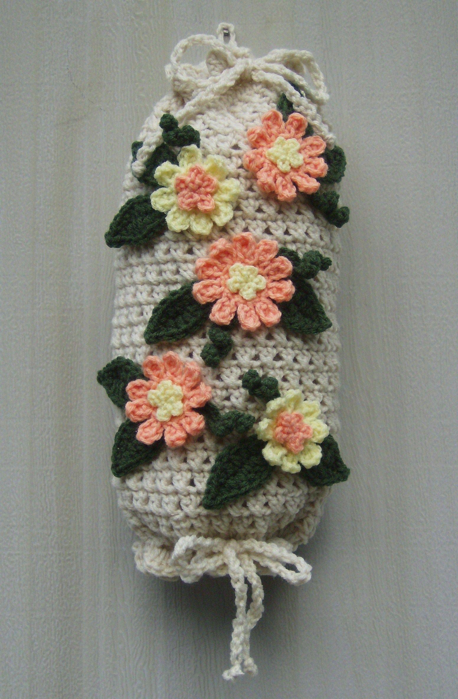 Plastic bag keeper - Crochet Plastic Bag Holder Dispenser Handmade