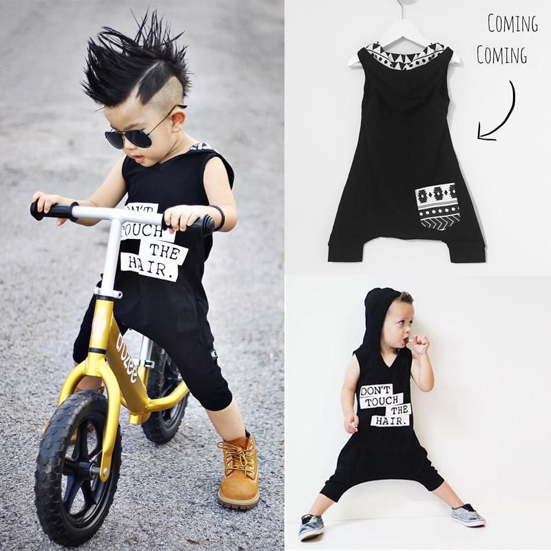 6982da981e0a 0-3Y Newborn Baby Boy Hooded Romper 2018 Summer Sleeveless Cool Design Infant  Boys Clothes Cotton Outfits  handbag  Necklace  beanie  Suede  pendants   scarf ...