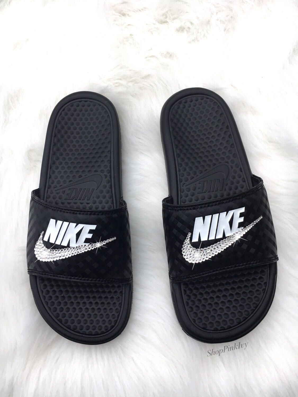 c4e674e83 Women s Swarovski Nike Benassi Slide Sandals customized with Swarovski  Crystals by ShopPinkIvy on Etsy https