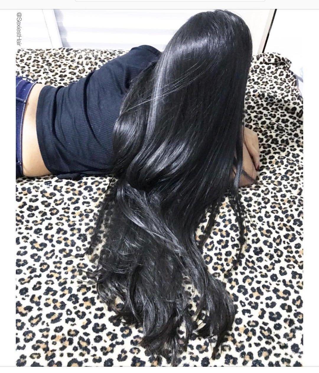 Jet Black Long Straight Hair. Sleek and beautiful.  Long hair