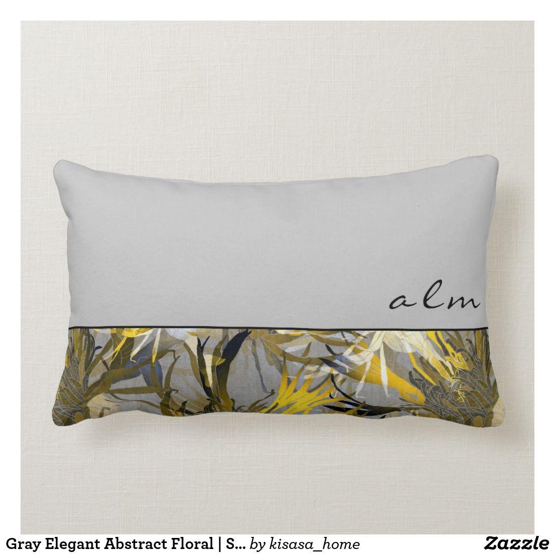 Gray Elegant Abstract Floral Script Monogram Lumbar Pillow Zazzle Com Abstract Floral Pillows Floral Pillows