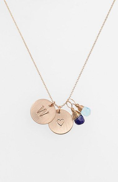 Women's Nashelle Blue Quartz Initial & Heart 14k Gold Fill Disc Necklace - Royal Blue And Ocean Blue W