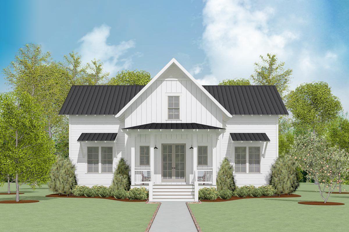 130029lls 1 front | Farmhouse plans, Small lake houses, Beach house plans