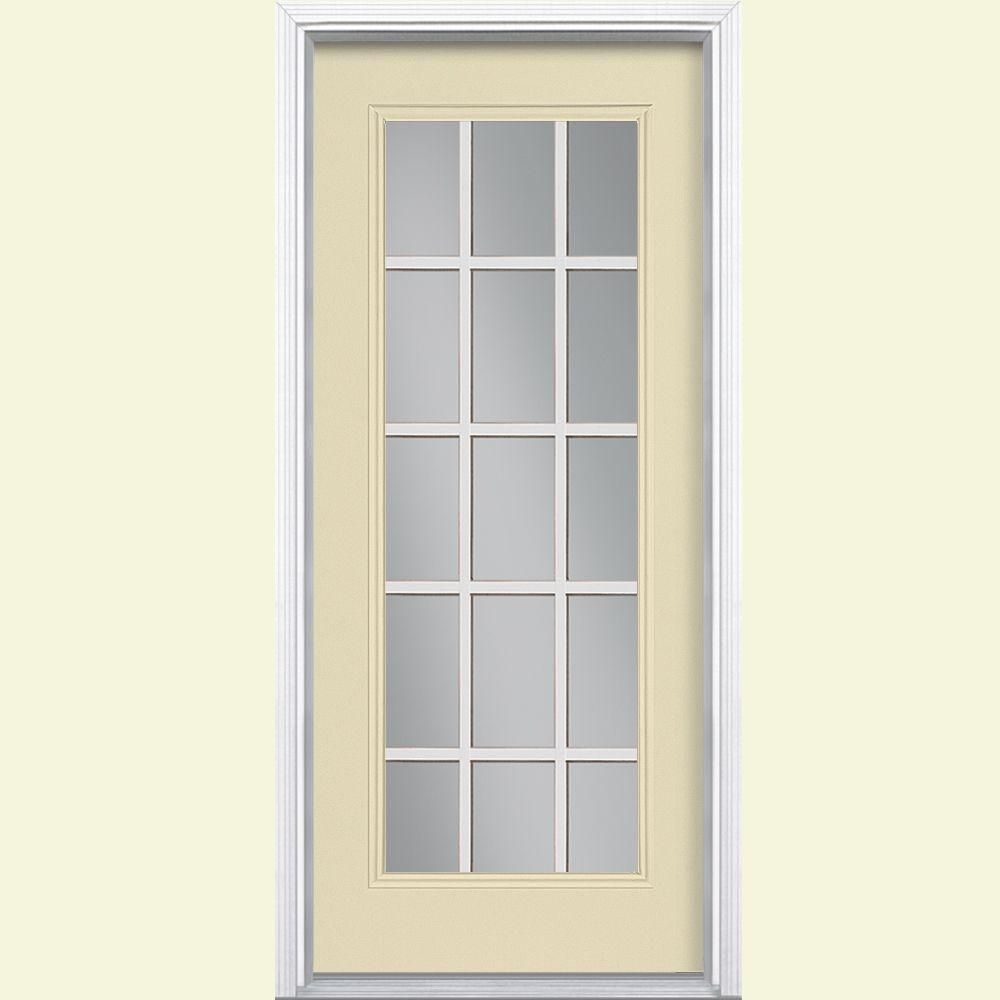 Masonite 32 In X 80 15 Lite Painted Steel Prehung Front Door With