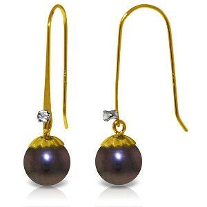 14K Solid Gold Fish Hook Earrings Diamond Black Pearl - 2884