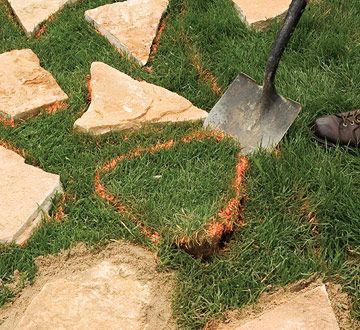 Great easy stepping stone paths sand set mortared for Easy garden path ideas