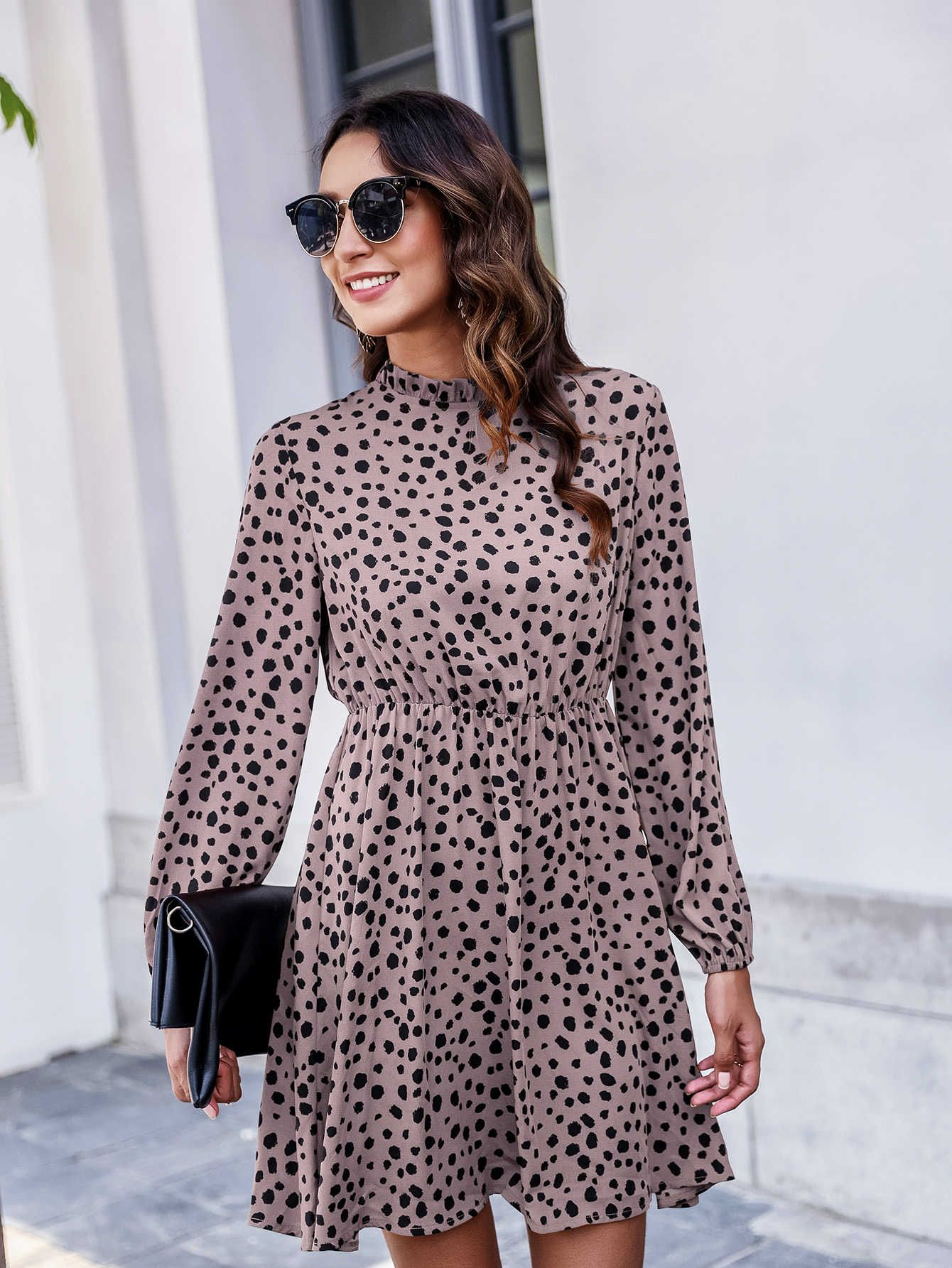 Black Friday 2020 Keyhole Back Frill Neck Dalmatian Dress Shein Usa In 2020 Fashion Clothes Women Dresses Fashion Outfits