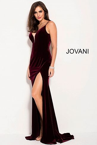 de80ffcf9ce Burgundy Spaghetti Straps Backless Velvet Prom Dress 57898