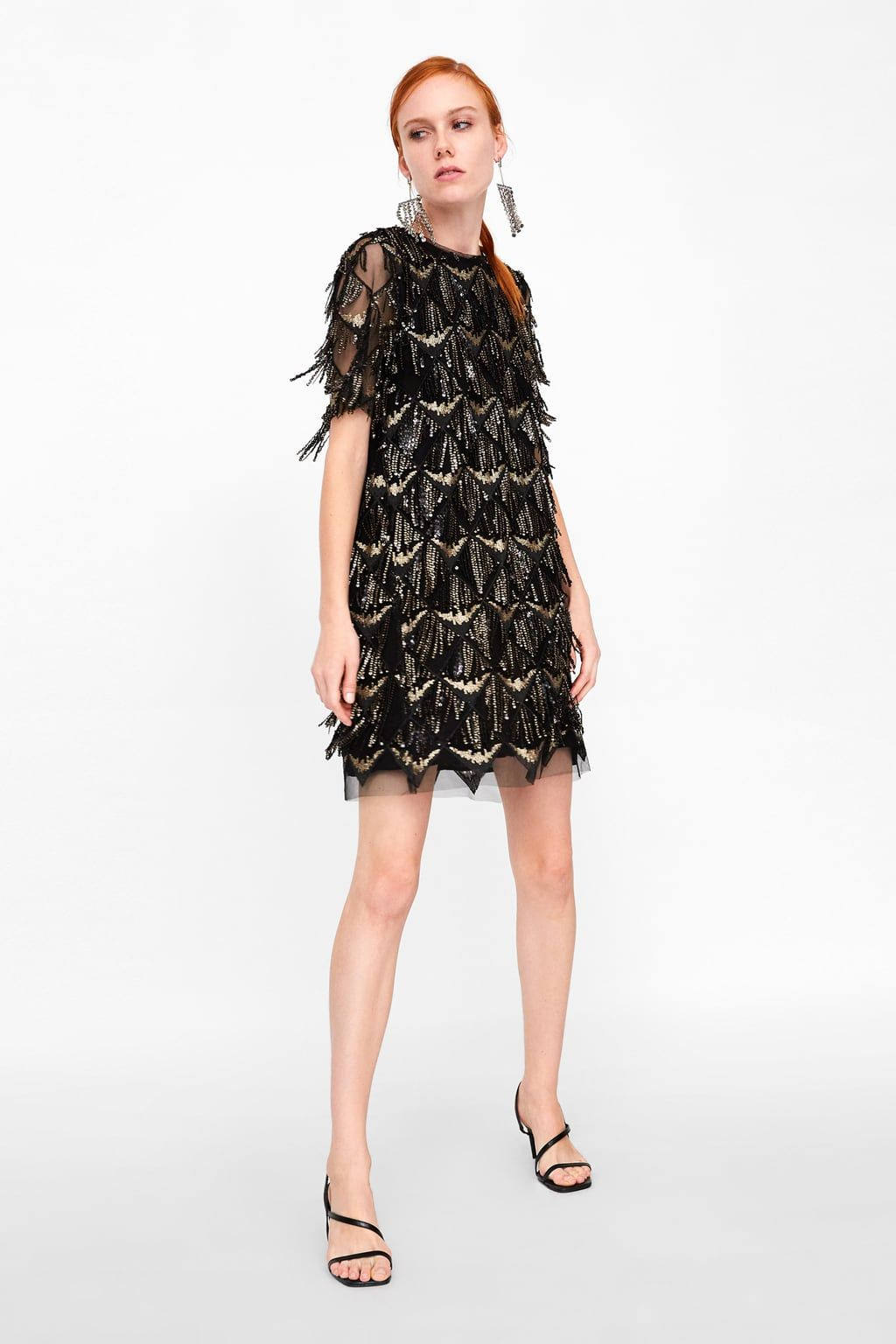 2b9d344fb5f6 Image 1 of FRINGED SEQUIN DRESS from Zara Sequin Outfit, Sequin Dress,  Fringe Dress
