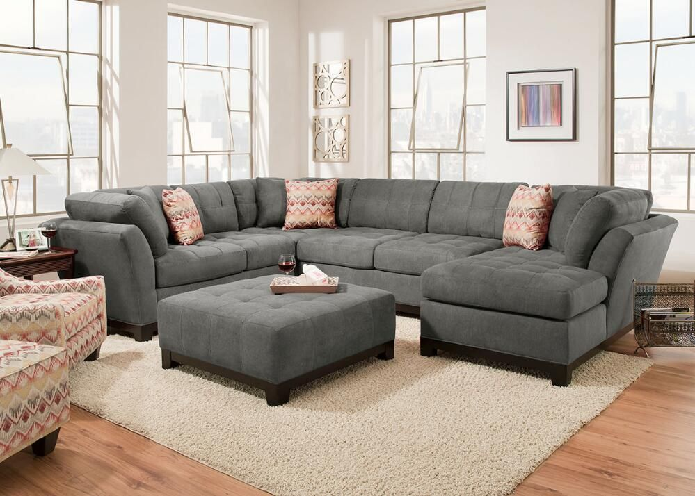 Kaley Charcoal 3 Pc Sectional Altview1 For The Home