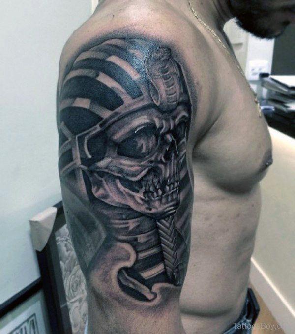 3d Metallic Skull King Tut Mens Half Sleeve Shaded Tattoo ...