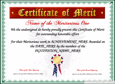Certificate of Merit Template free to customize download print – Merit Certificate Sample