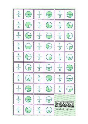 Dominó De Fracciones Para Imprimir Gratis 28 Piezas En Hoja A4 Pdf Actividades De Fracciones Domino De Fracciones Fracciones